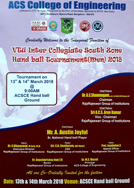 VTU Inter Collegiate South Zone Hand ball Tournament(Men)