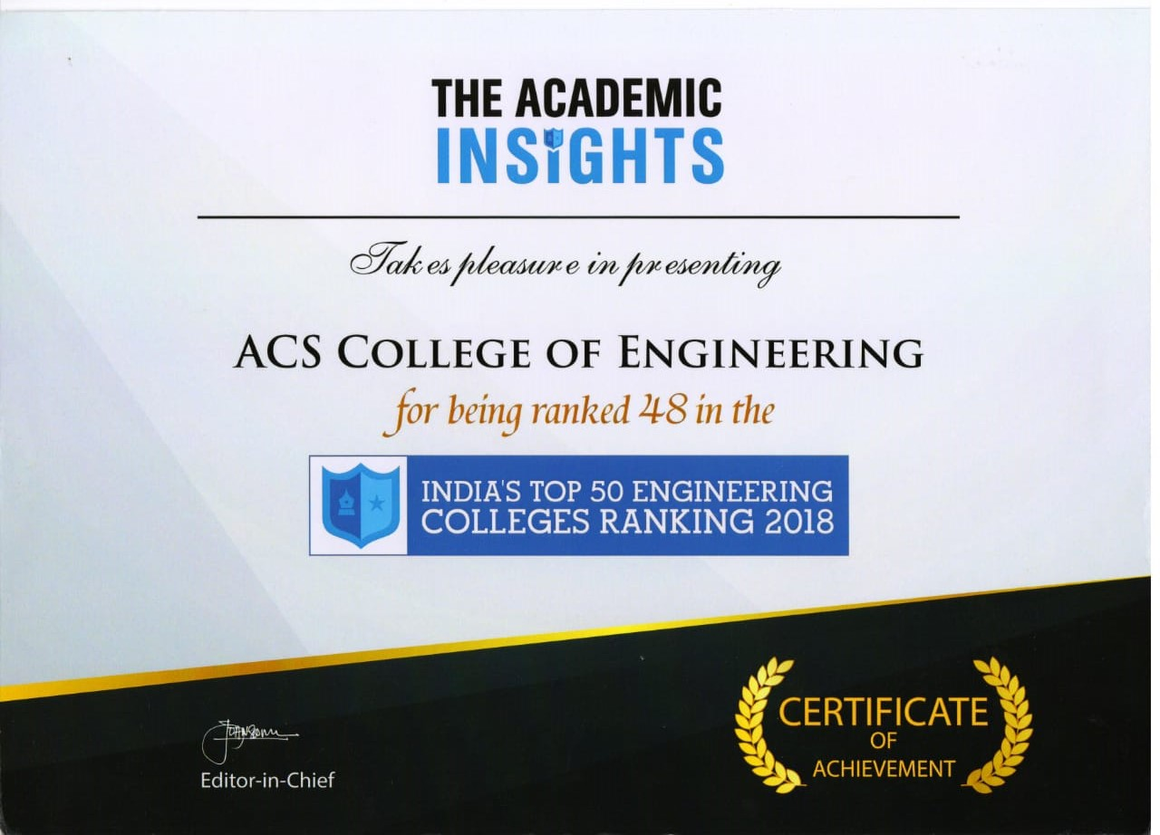 ACSCE has been Ranked No 48 in the India's Top 50