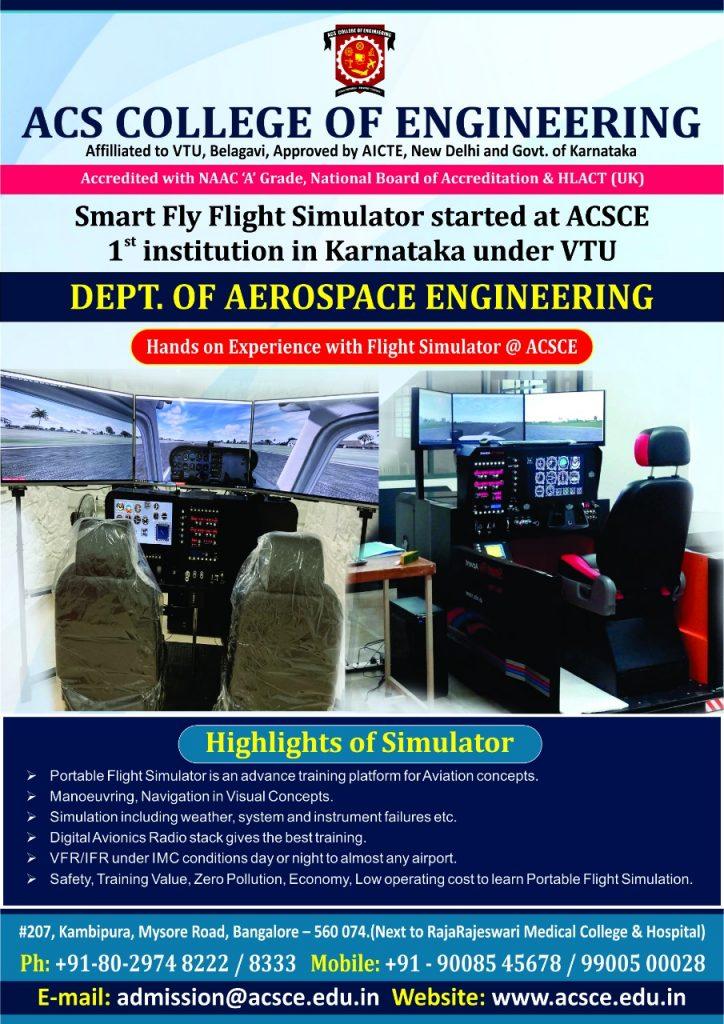 Smart Fly Flight Simulator started in ACSCE